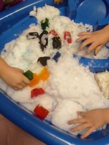 Ice Legos in the snow.