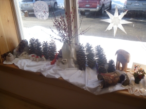 Beautiful sunshine for the winterscape on the window sill.