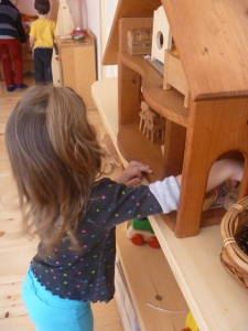 Wooden dollhouse.