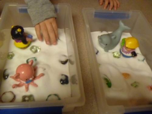 All our beach items in the box.