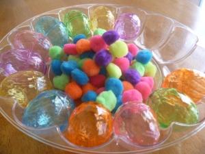 Eggs and pom-poms