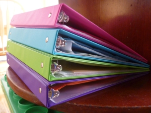 Binders on shelf.