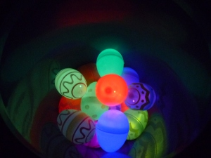 Bucket of glowing eggs