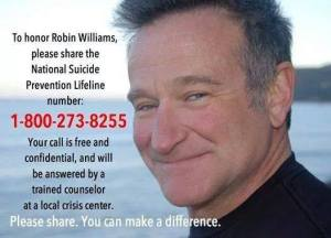 robin williams suicide hotline