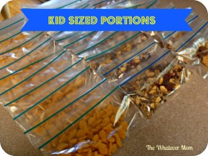 Use snack sized Ziploc bags to divide up kid sized portions of their favorite snacks.