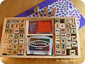 Use letter stamps to help kids identify letters