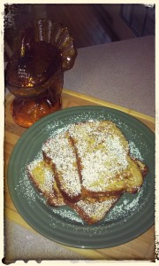 Coconut, carrot french toast.