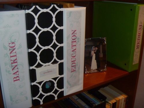 Use binders to organize paper work, and home management.