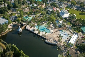 An aerial view of the resort.