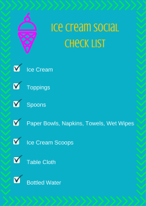 Ice Cream SocialCheck List