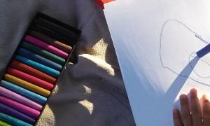 Kids using pastels