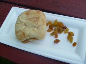 Organic peanut butter and honey with golden raisins. $4.00
