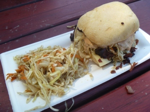 Brisket Sandwich with coleslaw $9.00. Worth every penny!