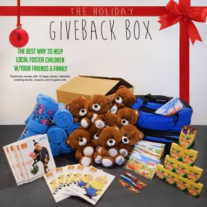 The GIVEBACK BOX can assist 10 children in your local community with Care Packages this holiday season.